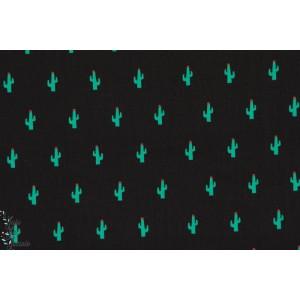 Popeline Little cactus vert/noir sebvenbery coton