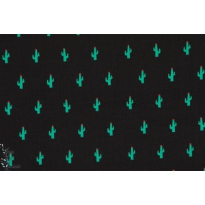 Popeline Little cactus vert/noir