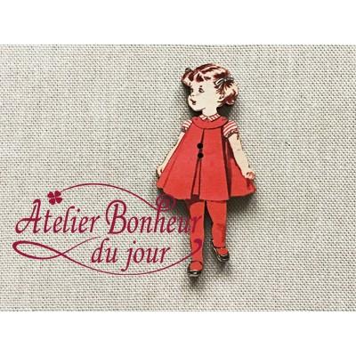 Bouton bois Fillette robe rouge H 4.5cm au bonheur du jour vintage rétro