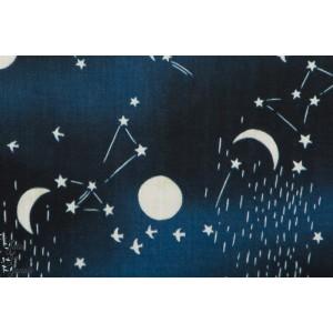 Double Gaze Moon ans Stars Bleu nuit kokka