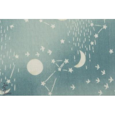 Double Gaze Moon on Stars Bleu clair kokka