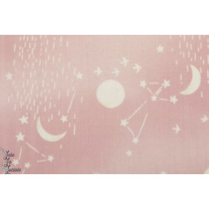 Double Gaze coton Moon and Stars rose Kokka  lune étoile ciel