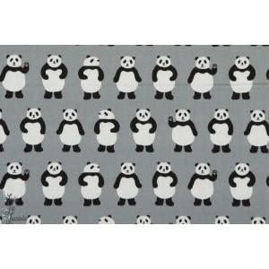 Bonjour Panda en gris popeline coton sevenberry