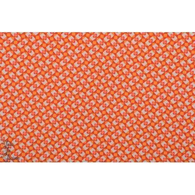 Popeline coton Petit Pan Granit Gris argent orange graphique
