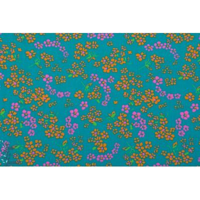 Popeline coton Petit Pan Hannako Turquoise fleur japon bleu