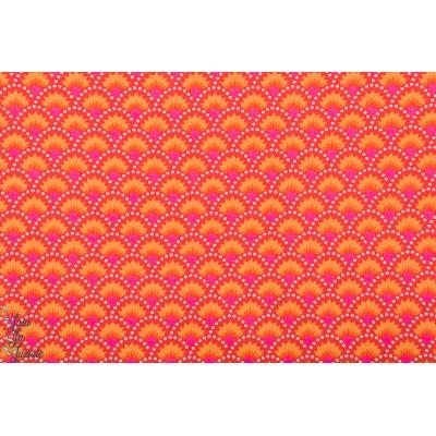 Popeline coton  Petit Pan Wasabi rouge