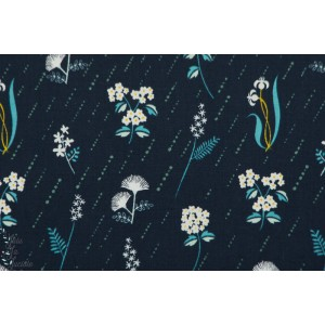 Popeline In bloom night  fleur nuit cotton steel pluie