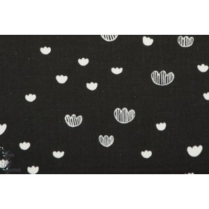 Popeline meadow Midnight Cotton Steel prarie de nuit coeur fleur printshop