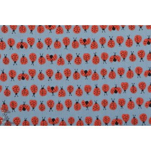 Popeline Bio  Ladybugs blue coccinelle monaluna cottage garden