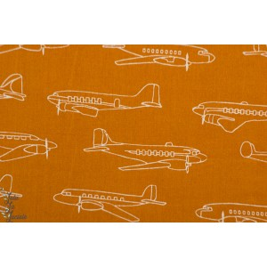 Popeline Bio Birch Planes Oranges - avion