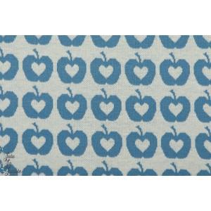 Jacquard Apple Liefde, blau, bleu lillestoff - pomme vintage