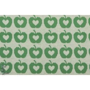 Jacquard bio Apple Liefde, grün vert lillestoff pomme vintage