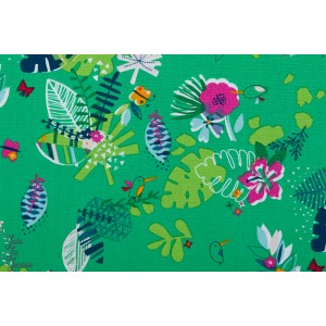 Popeline Flower on green - TROP1251 club tropicana dashwood studio