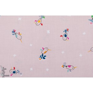 Birds on light pink TROP1253