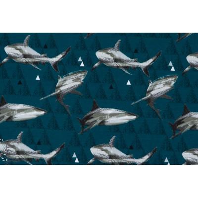 Jersey Bio Shark - requin  lillestoff garçon couture bleu