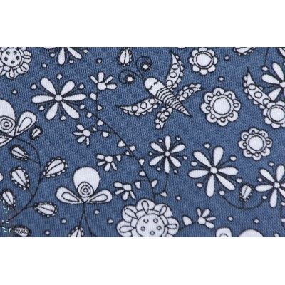 Jersey Bio Fleurs Fantastique Bleu Nuit Designer : Stoffregen pour Stoffonkel.