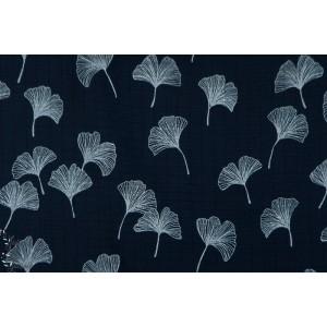 Ginkgo Bambou Mousseline feuille susalabim graphique bleu lillestoff femme couture