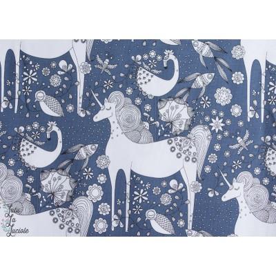 Jersey Bio Licorne Fantastique Bleu Designer : Stoffregen pour Stoffonkel.