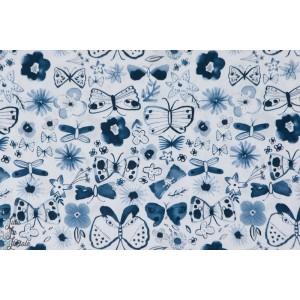 Popeline coton Dashwood Papillons et fleurs COPE1242 copenhague bleu