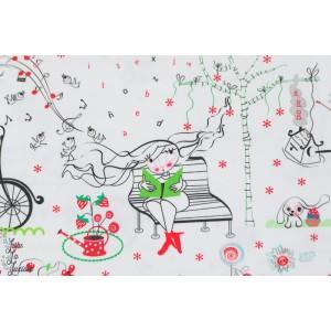 Popeline Secret gardern Noir et blanc inkalily  jardin secret couture enfant