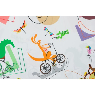 Popeline Animaux en Bicyclette Inkalily couture enfant
