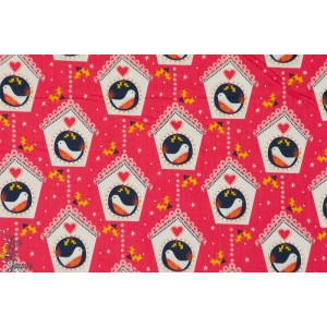 Popeline Dashwood Birds at Home MER1222 oiseau rouge noel