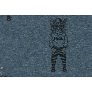 Sweat Stenzo Cat the Cat bleu chiné chat enfant couture french tery