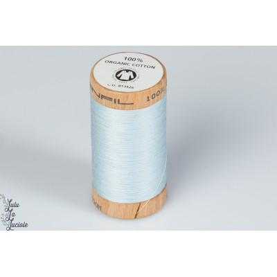 Fil organique Scanfil Bleu ciel 4814 bio gots bobine bois naturel tout coudre