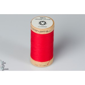 Fil coton organique Scanfil  4805 rouge red bio gots bobine bois
