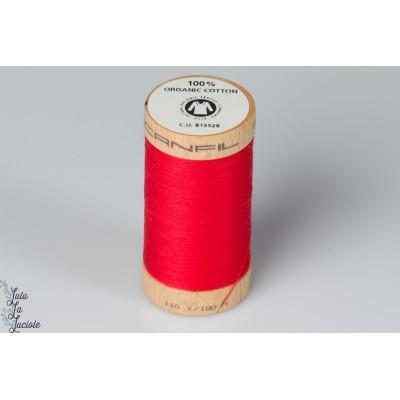Fil coton organique Scanfil  4805 rouge red bio gots bobine bois