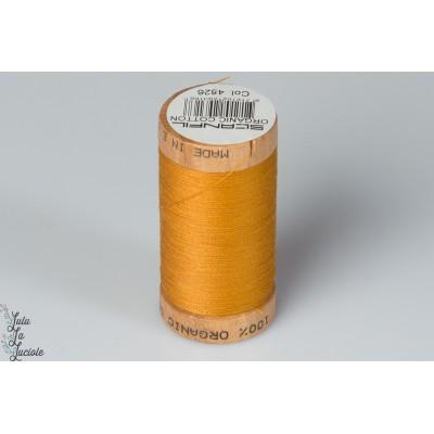 Fil organique Scanfil 4826 BIO gots brun moutarde senf bobine bois naturel