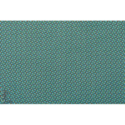 Popeline Petit Pan Mulino Bleu tissu coton graphique bleu vert