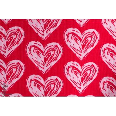 Jersey Bio rouge  Coeurs rose,  Designer : Janeas World pour Stoffonkel