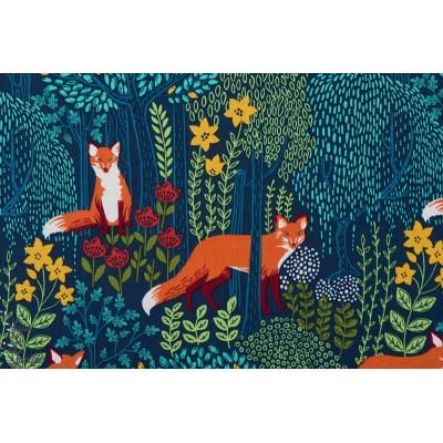 Popeline Into The woods nite renard michael miller forêt fleur nuit bleu