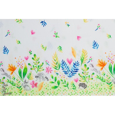 Popeline Frolic Double Border Michael Miller campagne fleur animaux