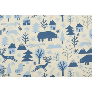 Tissu Jogging animaux en Hiver denin bleu blanc
