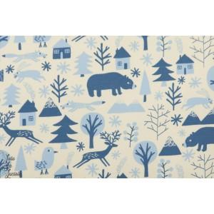 Tissu Jogging animaux en Hiver denin bleu blanc enfant forêt biche