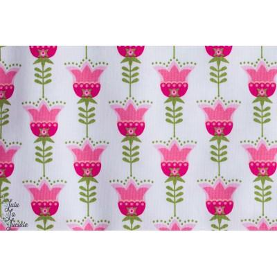 Jersey Bio Tulipes Blanc, Designer : Stoffregen pour Stoffonkel
