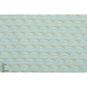 Popeline JAP graphique origami vague wasabi madame casse bonbon japon coton