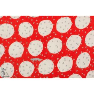 Double Gaze Echino renard sur bulle rouge graphique japon kokka