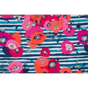Popeline AGF Spokelos marine coquelicot coton kenzo rayure art gallery fabric