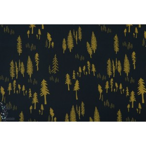 Popeline AGF Timberland Woodlands sapins métallique art gallery fabric