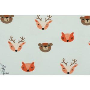 """Jersey bio  Stenzo """" Dans la forêt"""" animaux enfant cerf ours bois couture"""