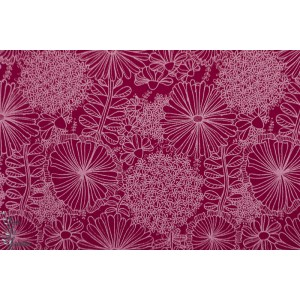 Jacquard Sweat Laced Flowers Ruby rouge Lillestoff