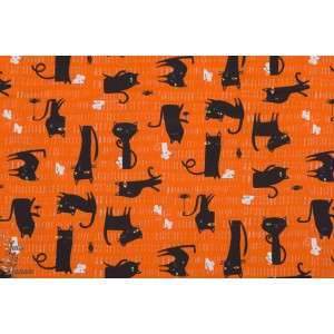 Popeline Scary cats Spooktacular SPOO1296 Halloween chat orange  dashwood studio patch plaid
