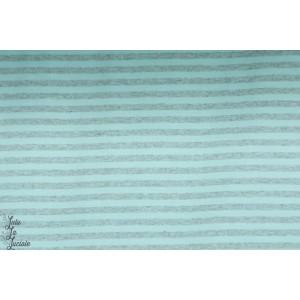 Jersey Bio Rayé Bleu clair /Gris chiné  Lillestoff