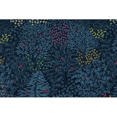 Popeline Le paradis - bleu marin Kokka arbre beautée nature