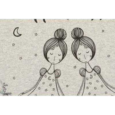 Jersey Bio jolies poupées, Bei Nacht, meliert -GOTS- Design: Bernadette Burnett/ B. Burnett pour lille