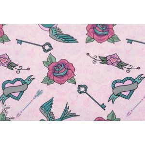jersey Rockabilly Rose foncé Stenzo tatouage oiseau femme coton couture mode
