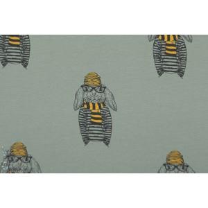 Tissu Stenzo jersey bio lapin  -jaune bagnard graphique